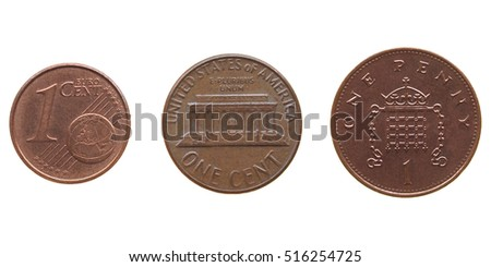 One Euro cent, One Dollar cent, One Penny coins isolated