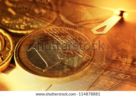 One Euro coin and clock  in gold tone. Finance background. - stock photo