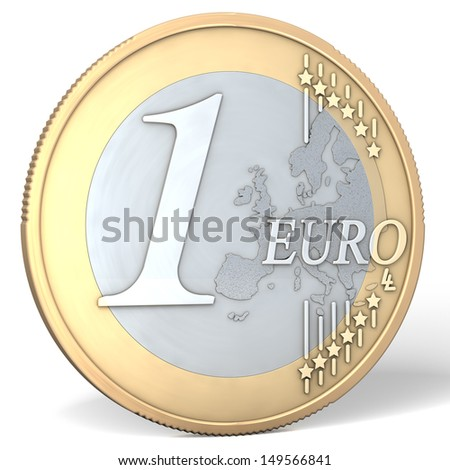 One euro coin - 3d rendering isolated on white background