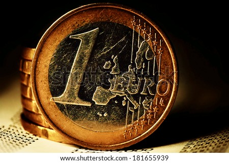 One Euro coin. Finance background. - stock photo