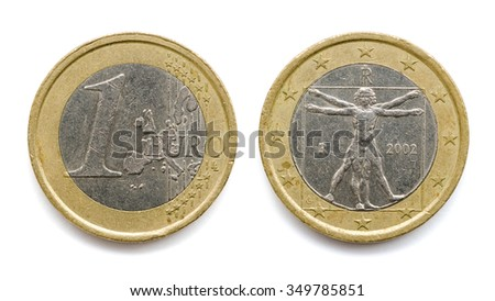 One euro coin isolated on white background with real shadows and clipping paths - stock photo