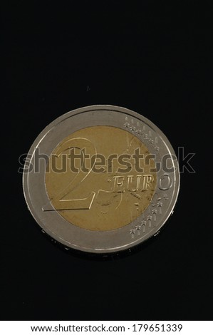 One Euro coin money isolated (European currency) - stock photo
