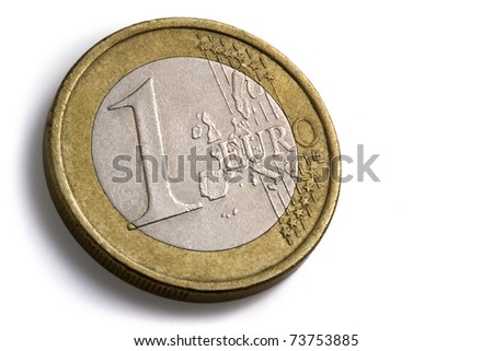 one euro coin on white background