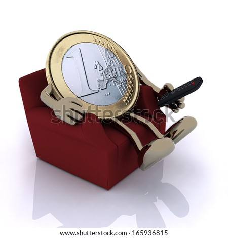 one euro coin with arms, legs and remote control on a couch, 3d illustration