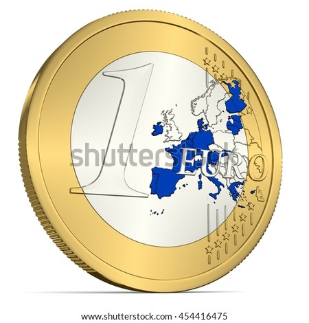 One Euro Coin with Euro Area in Blue - 3d-Illustration - stock photo
