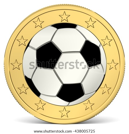One Euro coin with soccer ball as minting, 3d-Illustration - stock photo