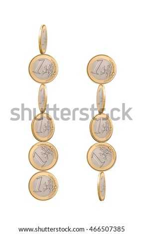 One euro coins on a white background isolated. Six and five euro coins.