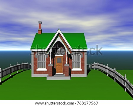 One-family house 3D rendering