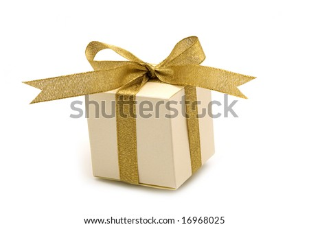 one  fancy gift box on white background - stock photo