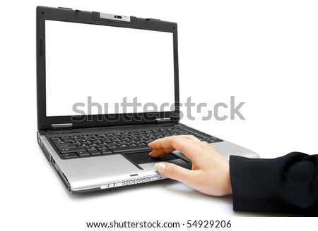 One female hand on the laptop isolated on white background - stock photo
