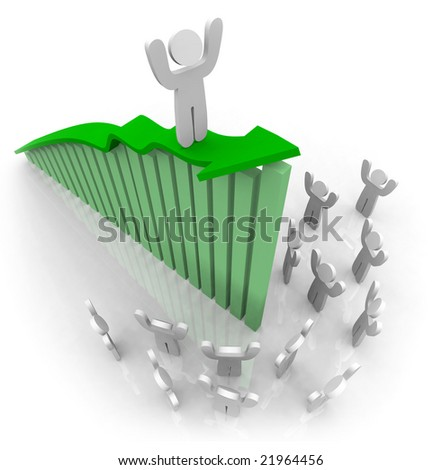One figure rides a green growth arrow in front of his cheering team - stock photo