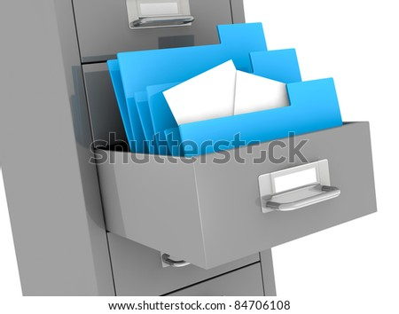 one file drawer with a drawer open and some folders with documents (3d render) - stock photo