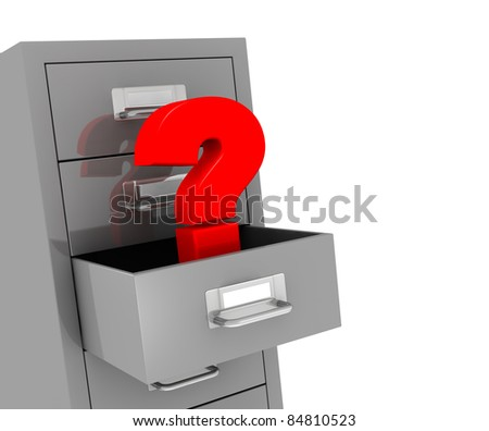 one file drawer with a open drawer and a question mark, concept of problem or data loss (3d render) - stock photo