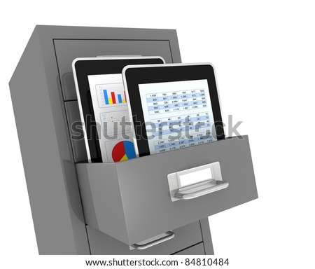 one file drawer with two portable devices, concept of electronic organize and archive of data (3d render) - stock photo