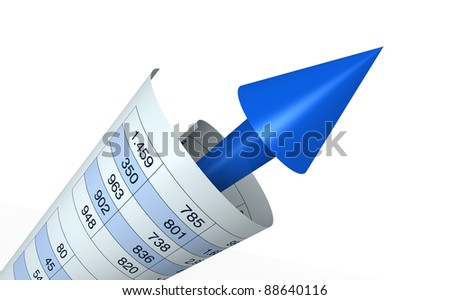 one financial chart growing with a spreadsheet around it (3d render) - stock photo