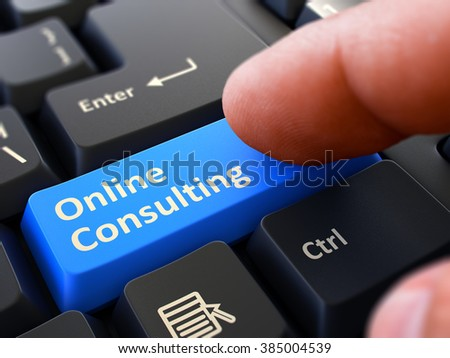 One Finger Presses Blue Button Online Consulting on Black Computer Keyboard. Closeup View. Selective Focus. 3D Render. - stock photo