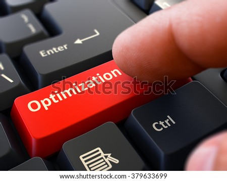 One Finger Presses Red Button Optimization on Black Computer Keyboard. Closeup View. Selective Focus. 3D Render. - stock photo
