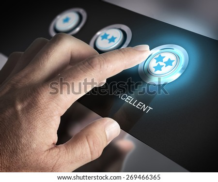 One finger pressing a three stars button, image concept of best rating or excellent customer service. - stock photo