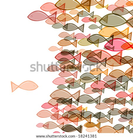 one fish swimming in the opposite direction of a troupe of fishes - stock photo