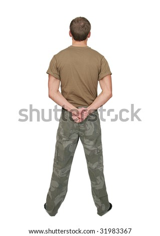 one fit attractive soldier in a brown tshirt with dogtags half length portrait over white - stock photo
