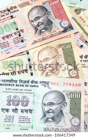One , five hundred, and thousand rupee bank notes - stock photo