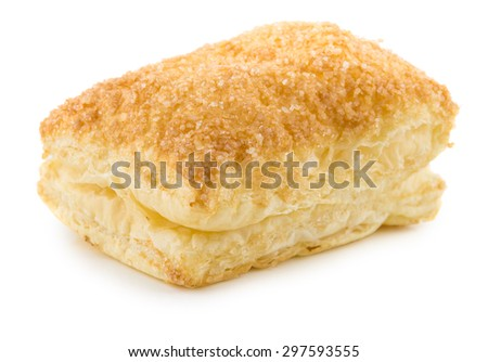 One flaky biscuit isolated on white background - stock photo