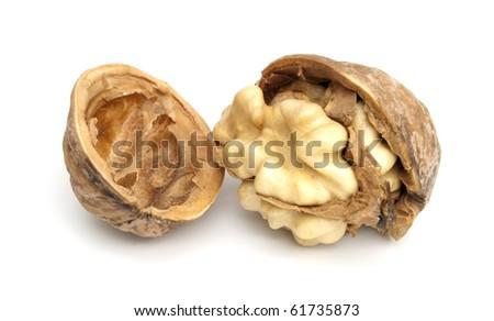 One fresh crashed walnut on the white background - stock photo