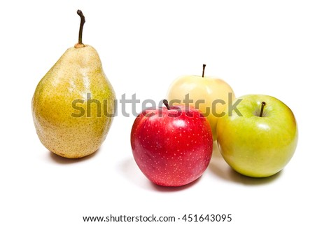 One fresh green pear and three apples in red, green and yellow color. Group of juicy ripe fruits.  Isolated on white background. With clipping path. - stock photo