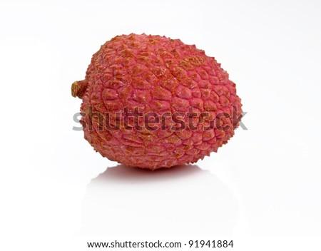 One fresh Lychee Fruit isolated on white Background - stock photo