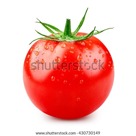 one fresh red tomato isolated on white Clipping Path
