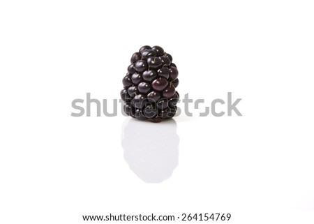 One fresh ripe blackberry. Isolated over on white background - stock photo