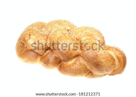 One fresh sabbath challah isolated on white background