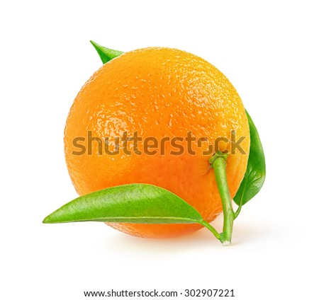 One fresh tangerine isolated on white background with clipping path - stock photo