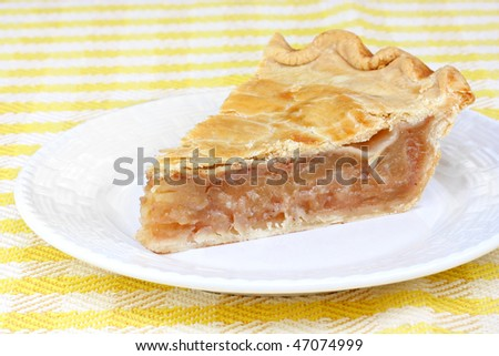 One freshly baked slice of apple cinnamon pie.