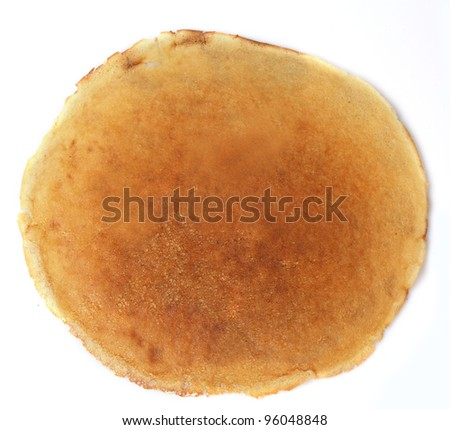 One fried pancake against the white background - stock photo