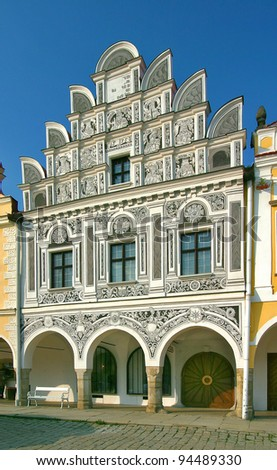 one from a renaissance houses on main square in Telc - Czech republic - stock photo