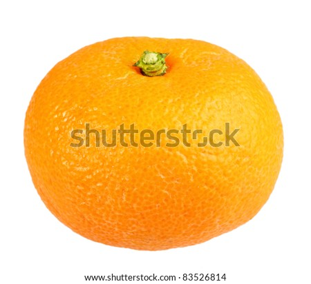One full fruit of orange tangerine. Isolated on white background. Close-up. Studio photography.