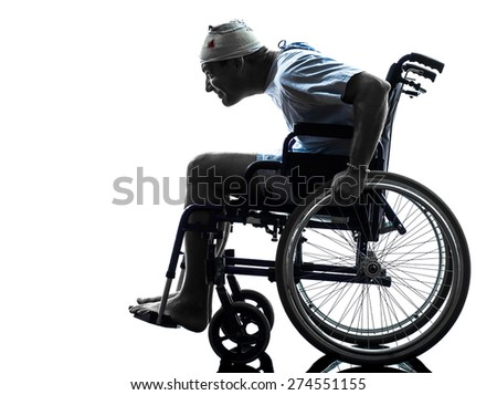 one funny careless injured man in wheelchair in silhouette studio on white background - stock photo