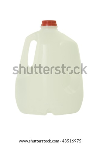 One gallon bottle with purified water; isolated, clipping path included