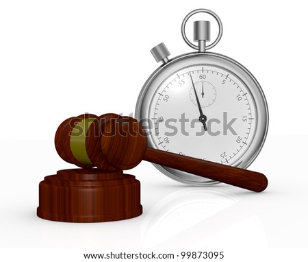 one gavel, like those used on auctioning and a stopwatch, a concept of end time of an auction (3d render) - stock photo