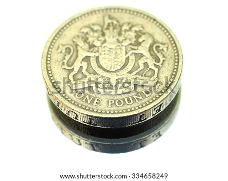 One GBP - coin - stock photo