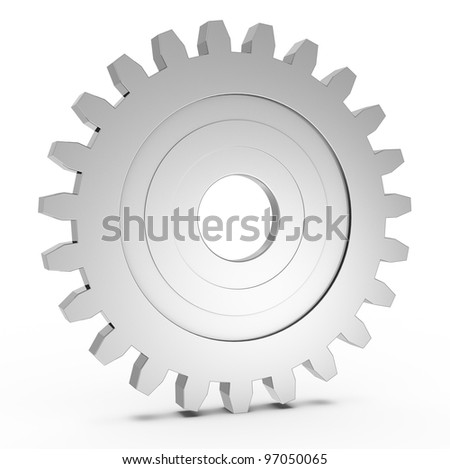 one gear with light reflection (3d render) - stock photo