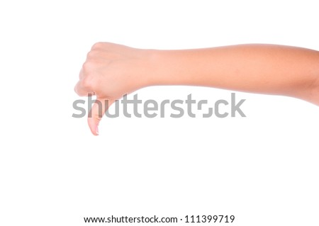 one gesturing hand isolated on white background - stock photo