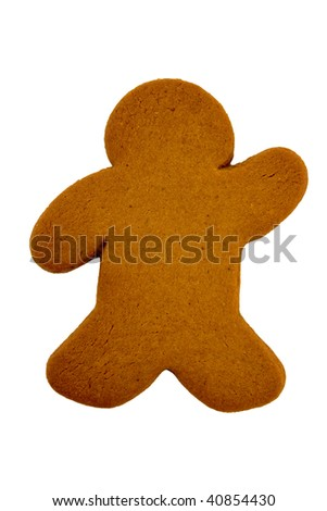 One Gingerbread Man ready to ice isolated over white background. - stock photo