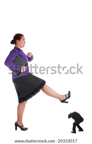 One girl crushing her bad boss - stock photo