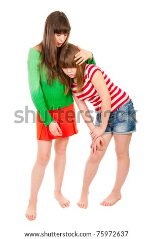 One girl soothes and spares another isolated - stock photo