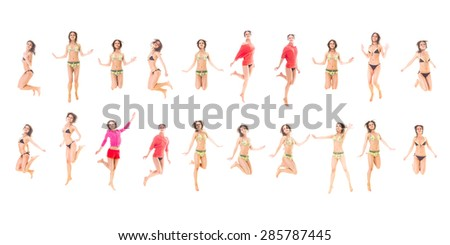 One Girl Team Bright Group  - stock photo