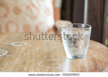 One glass of cold water. Placed on the table