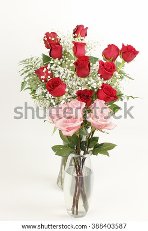 One Glass Vase Bouquet Pink Roses Stock Photo Royalty Free
