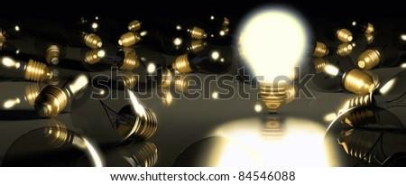 One glowing light bulb amongst other light bulbs - stock photo